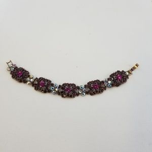 Purple Iridescent Rhinestone Link Bracelet